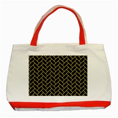 Brick2 Black Marble & Yellow Colored Pencil (r) Classic Tote Bag (red)