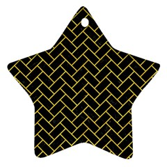 Brick2 Black Marble & Yellow Colored Pencil (r) Star Ornament (two Sides)