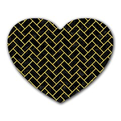 Brick2 Black Marble & Yellow Colored Pencil (r) Heart Mousepads