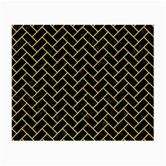 Brick2 Black Marble & Yellow Colored Pencil (r) Small Glasses Cloth (2 Side)