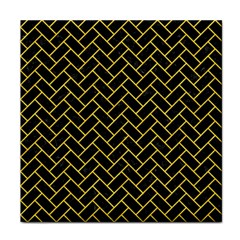 Brick2 Black Marble & Yellow Colored Pencil (r) Face Towel