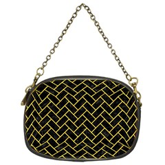 Brick2 Black Marble & Yellow Colored Pencil (r) Chain Purses (one Side)