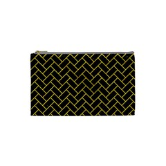 Brick2 Black Marble & Yellow Colored Pencil (r) Cosmetic Bag (small)