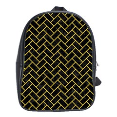 Brick2 Black Marble & Yellow Colored Pencil (r) School Bag (large)