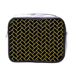 Brick2 Black Marble & Yellow Colored Pencil (r) Mini Toiletries Bags