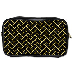 Brick2 Black Marble & Yellow Colored Pencil (r) Toiletries Bags
