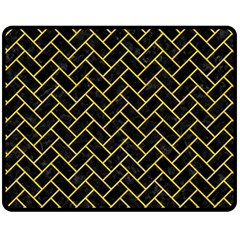Brick2 Black Marble & Yellow Colored Pencil (r) Fleece Blanket (medium)