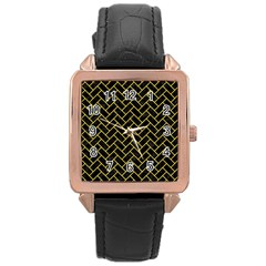 Brick2 Black Marble & Yellow Colored Pencil (r) Rose Gold Leather Watch