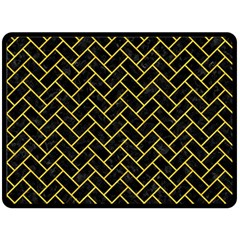 Brick2 Black Marble & Yellow Colored Pencil (r) Double Sided Fleece Blanket (large)