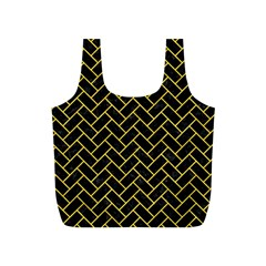 Brick2 Black Marble & Yellow Colored Pencil (r) Full Print Recycle Bags (s)