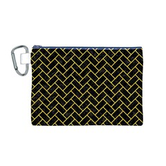 Brick2 Black Marble & Yellow Colored Pencil (r) Canvas Cosmetic Bag (m)