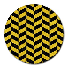 Chevron1 Black Marble & Yellow Colored Pencil Round Mousepads