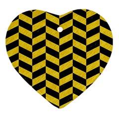 Chevron1 Black Marble & Yellow Colored Pencil Ornament (heart)