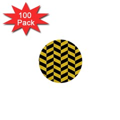 Chevron1 Black Marble & Yellow Colored Pencil 1  Mini Buttons (100 Pack)