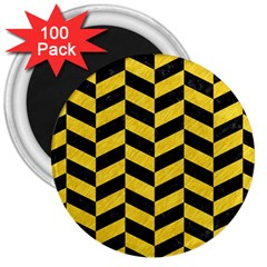 Chevron1 Black Marble & Yellow Colored Pencil 3  Magnets (100 Pack)