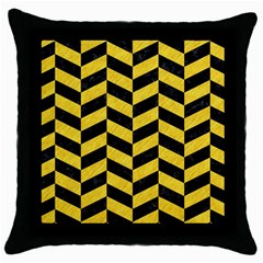 Chevron1 Black Marble & Yellow Colored Pencil Throw Pillow Case (black)