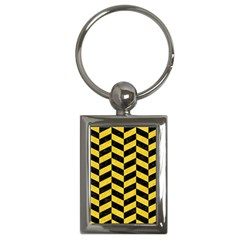 Chevron1 Black Marble & Yellow Colored Pencil Key Chains (rectangle)