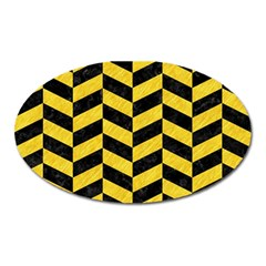 Chevron1 Black Marble & Yellow Colored Pencil Oval Magnet