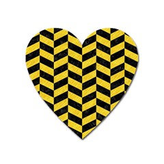 Chevron1 Black Marble & Yellow Colored Pencil Heart Magnet