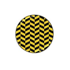Chevron1 Black Marble & Yellow Colored Pencil Hat Clip Ball Marker (4 Pack)