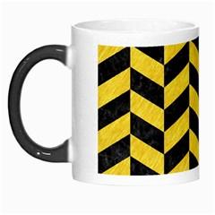 Chevron1 Black Marble & Yellow Colored Pencil Morph Mugs