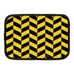 Chevron1 Black Marble & Yellow Colored Pencil Netbook Case (medium)