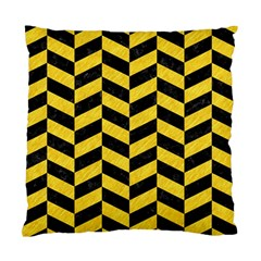 Chevron1 Black Marble & Yellow Colored Pencil Standard Cushion Case (one Side)