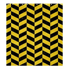 Chevron1 Black Marble & Yellow Colored Pencil Shower Curtain 66  X 72  (large)