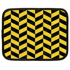 Chevron1 Black Marble & Yellow Colored Pencil Netbook Case (xl)