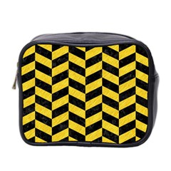Chevron1 Black Marble & Yellow Colored Pencil Mini Toiletries Bag 2 Side