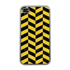 Chevron1 Black Marble & Yellow Colored Pencil Apple Iphone 4 Case (clear)
