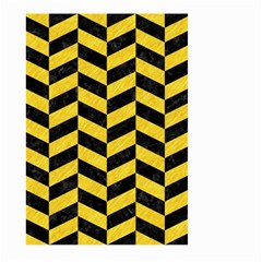 Chevron1 Black Marble & Yellow Colored Pencil Large Garden Flag (two Sides)