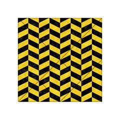 Chevron1 Black Marble & Yellow Colored Pencil Acrylic Tangram Puzzle (4  X 4 )