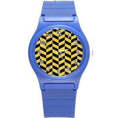 Chevron1 Black Marble & Yellow Colored Pencil Round Plastic Sport Watch (s)