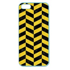 Chevron1 Black Marble & Yellow Colored Pencil Apple Seamless Iphone 5 Case (color)
