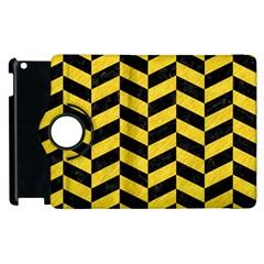 Chevron1 Black Marble & Yellow Colored Pencil Apple Ipad 3/4 Flip 360 Case