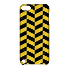 Chevron1 Black Marble & Yellow Colored Pencil Apple Ipod Touch 5 Hardshell Case With Stand