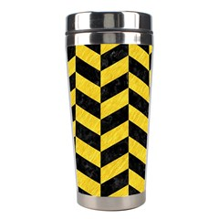 Chevron1 Black Marble & Yellow Colored Pencil Stainless Steel Travel Tumblers