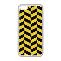 Chevron1 Black Marble & Yellow Colored Pencil Apple Iphone 5c Seamless Case (white)