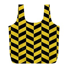 Chevron1 Black Marble & Yellow Colored Pencil Full Print Recycle Bags (l)