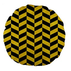 Chevron1 Black Marble & Yellow Colored Pencil Large 18  Premium Flano Round Cushions