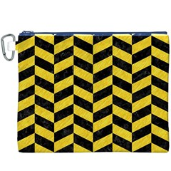 Chevron1 Black Marble & Yellow Colored Pencil Canvas Cosmetic Bag (xxxl)