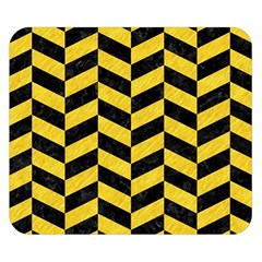 Chevron1 Black Marble & Yellow Colored Pencil Double Sided Flano Blanket (small)