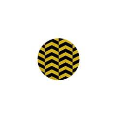 Chevron2 Black Marble & Yellow Colored Pencil 1  Mini Buttons