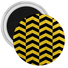 Chevron2 Black Marble & Yellow Colored Pencil 3  Magnets