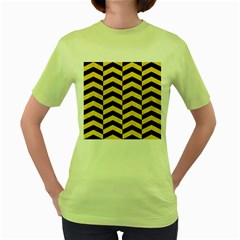 Chevron2 Black Marble & Yellow Colored Pencil Women s Green T Shirt