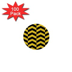Chevron2 Black Marble & Yellow Colored Pencil 1  Mini Buttons (100 Pack)