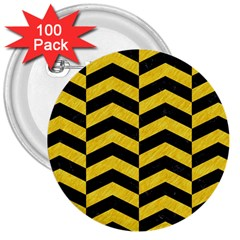Chevron2 Black Marble & Yellow Colored Pencil 3  Buttons (100 Pack)
