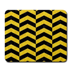 Chevron2 Black Marble & Yellow Colored Pencil Large Mousepads
