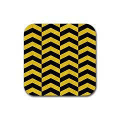 Chevron2 Black Marble & Yellow Colored Pencil Rubber Square Coaster (4 Pack)